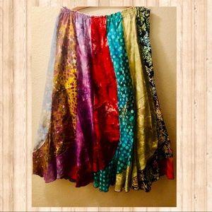 🌈 Hippie Boho colorful patchwork panel skirt SzXL